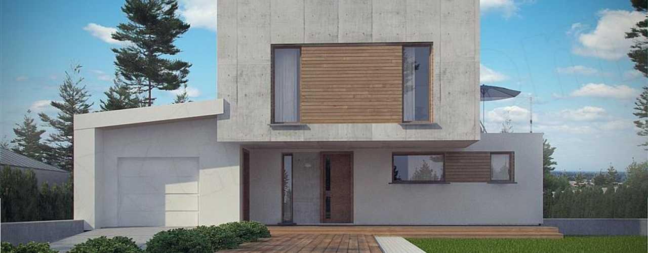 Topnotch Beton architektoniczny na elewacji - Dom Nowoczesny RA75