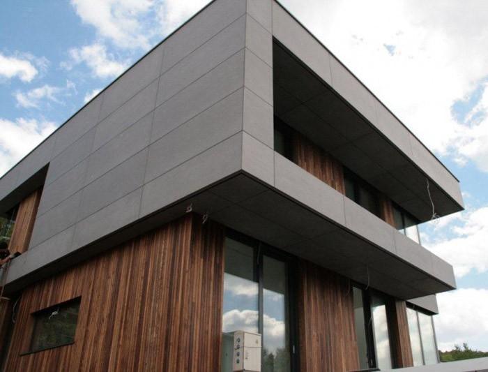 Góra Beton architektoniczny na elewacji - Dom Nowoczesny YV59